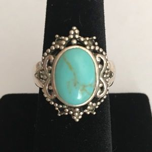 Vintage Style Silver and Turquoise Filigree Ring 8